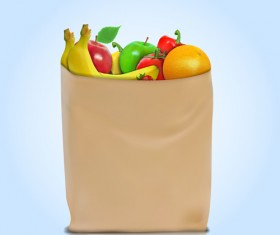 Grocery bag with food design vector 06