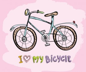 Hand drawn I love my bicycle design vector 07