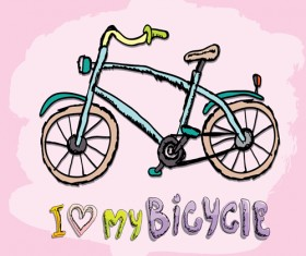 Hand drawn I love my bicycle design vector 09