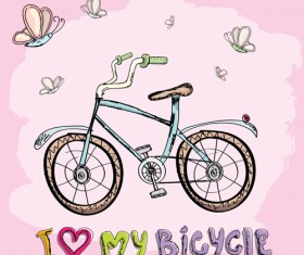 Hand drawn I love my bicycle design vector 10