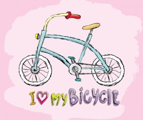 Hand drawn I love my bicycle design vector 11