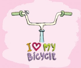 Hand drawn I love my bicycle design vector 12