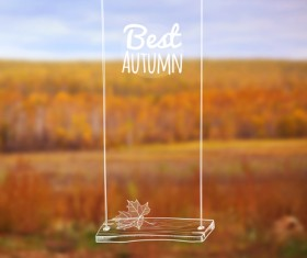 Hand drawn autumn elements with blurs background vector 06