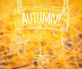 Hand drawn autumn elements with blurs background vector 07