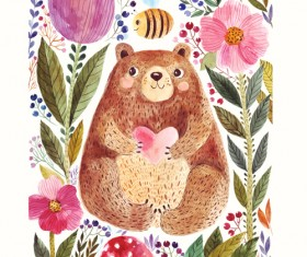 Hand drawn bear with flower vector 01