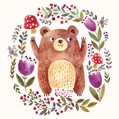 Hand drawn bear with flower vector 02