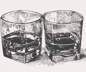 Hand drawn glass cup sketch vector 01