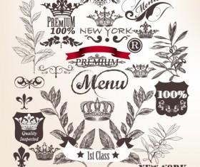Hand drawn retro ornaments elements vector