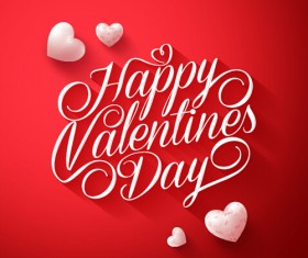 Happy Valentines day text with heart balloons vector 01