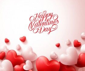 Happy Valentines day text with heart balloons vector 02