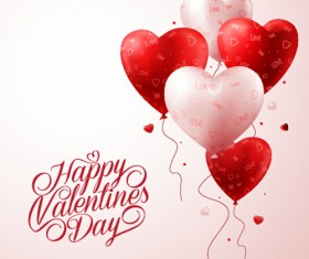 Happy Valentines day text with heart balloons vector 03