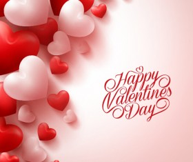 Happy Valentines day text with heart balloons vector 05