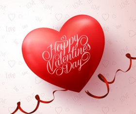 Happy Valentines day text with heart balloons vector 06