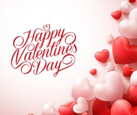 Happy Valentines day text with heart balloons vector 07