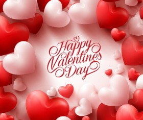 Happy Valentines day text with heart balloons vector 08