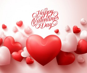 Happy Valentines day text with heart balloons vector 09