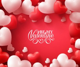 Happy Valentines day text with heart balloons vector 10