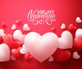 Happy Valentines day text with heart balloons vector 11