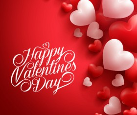 Happy Valentines day text with heart balloons vector 12