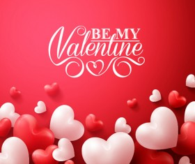 Happy Valentines day text with heart balloons vector 13