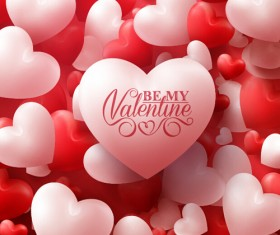 Happy Valentines day text with heart balloons vector 14