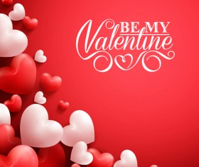 Happy Valentines day text with heart balloons vector 15
