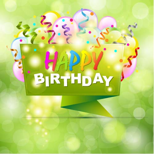 Happy birthday lables with green background vector Vector – Green Birthday Card