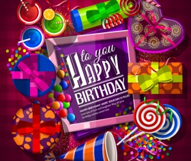 Happy birthday photo frame with gift boxs vector