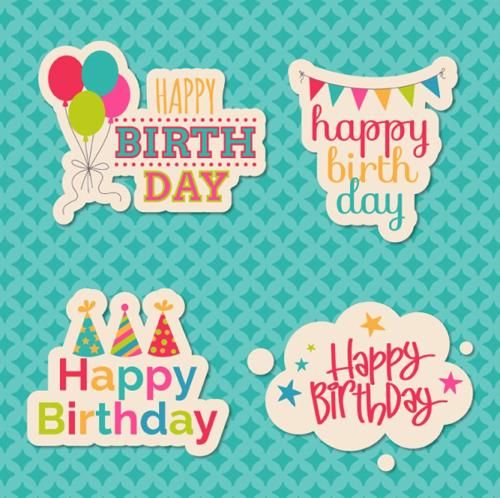 Happy Birthday Sticker Design Vector Free Download