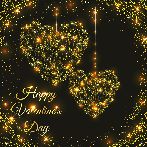 Happy valentines day golden ornaments vector