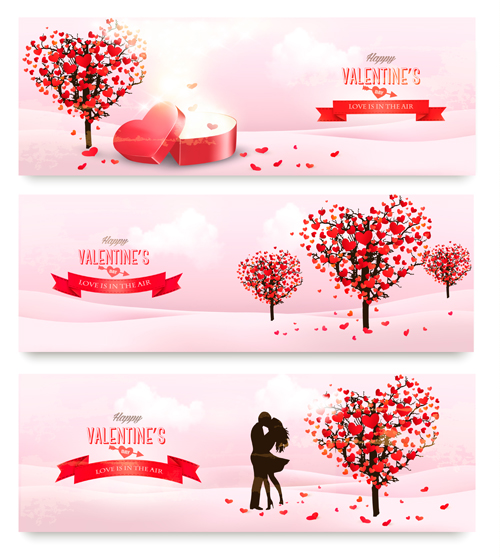 Heart Tree With Valentine Day Banners Vector Set Free Download
