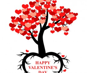 Hearts tree with valentines day vector