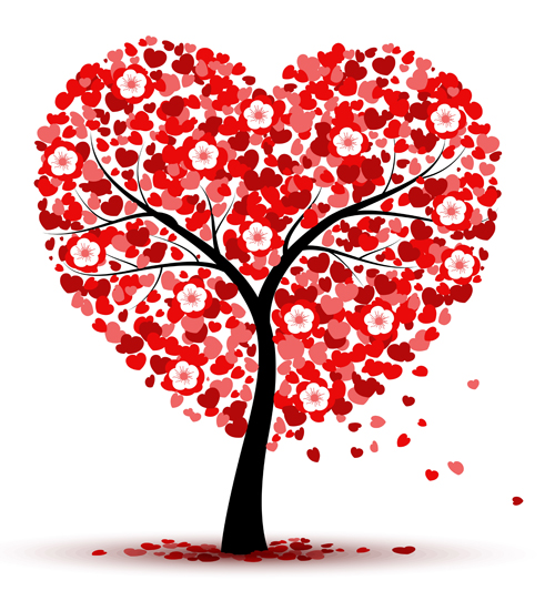 Hearts With Flower Tree Valentines Day Vector Background Free Download