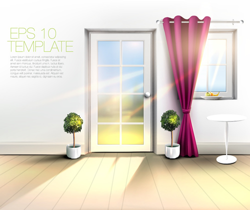 House Interior Corner Background Vectors Set 03