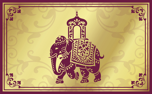 Indian Patterns With Elephants Vector Set 01 Vector