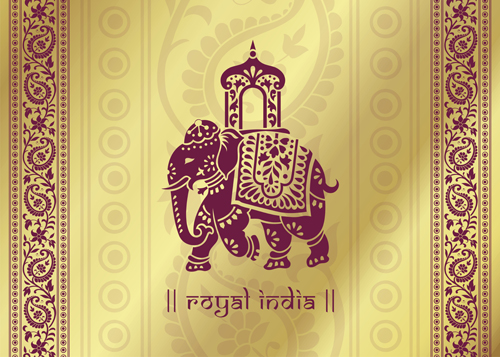 Indian Patterns With Elephants Vector Set 02 Vector