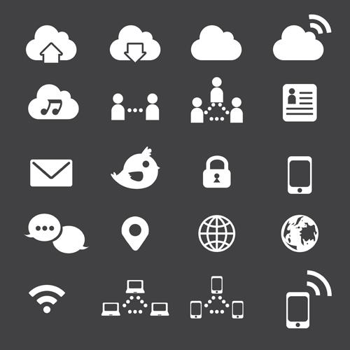 Internet icon vector set free download