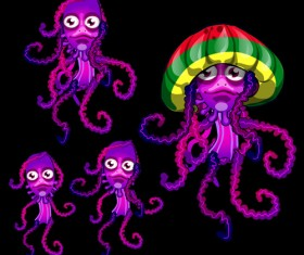 Jellyfish catoon character vector 02