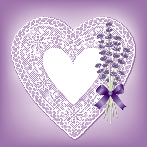 Lace Heart Cards With Purple Flower Vector