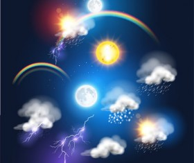 Lightning rainbow cloud with moon and sun vector