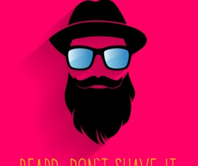 Long beard hipster head portrait vector set 01