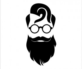 Long beard hipster head portrait vector set 02