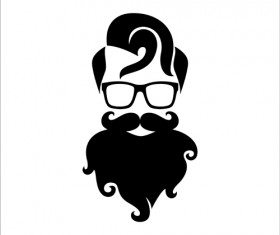 Long beard hipster head portrait vector set 03