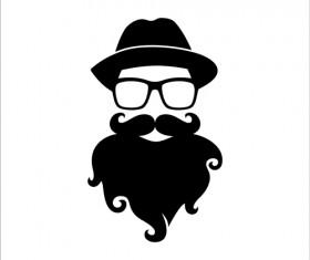 Long beard hipster head portrait vector set 05