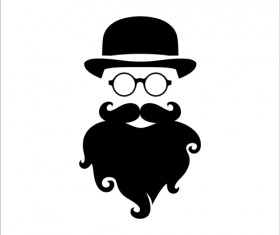 Long beard hipster head portrait vector set 07