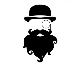 Long beard hipster head portrait vector set 09