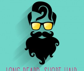 Long beard hipster head portrait vector set 10