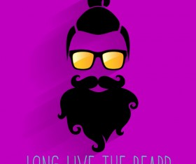 Long beard hipster head portrait vector set 11
