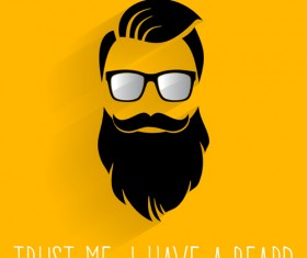 Long beard hipster head portrait vector set 12
