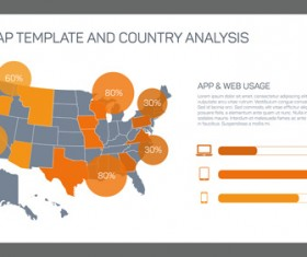 Map with infographic business templates vector 09